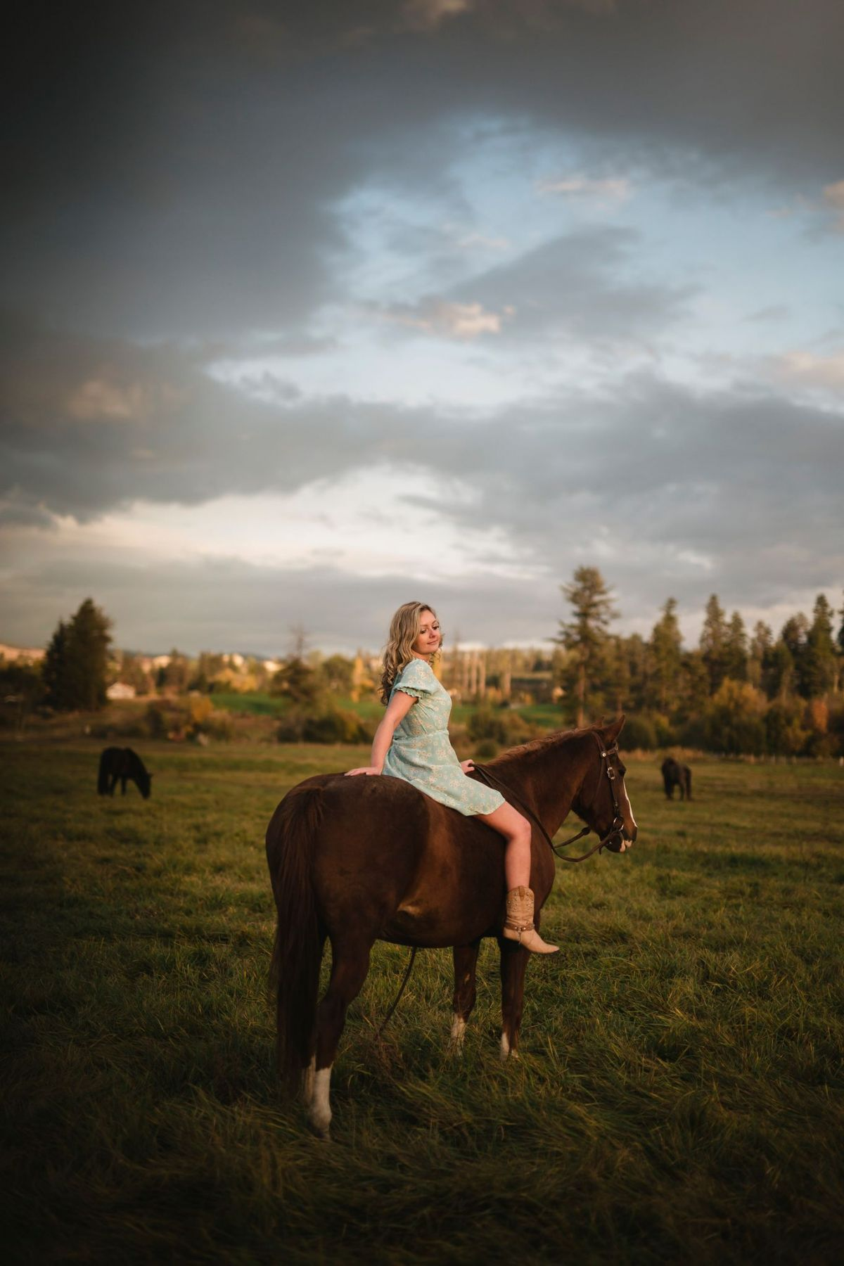 Girl Sitting on horse with blue sky
